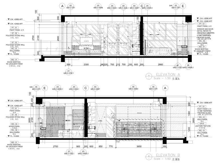 [三亚]山海天156㎡现代三居公寓设计施工图-客厅立面图