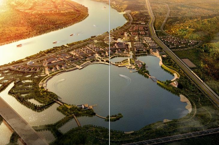 [湖南]湘潭湘江生态经济带景观绿带设计-临江效果图