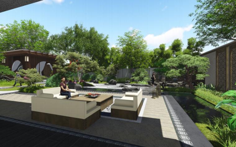 [上海]海派传统中式院子住宅景观方案文本-样板庭院