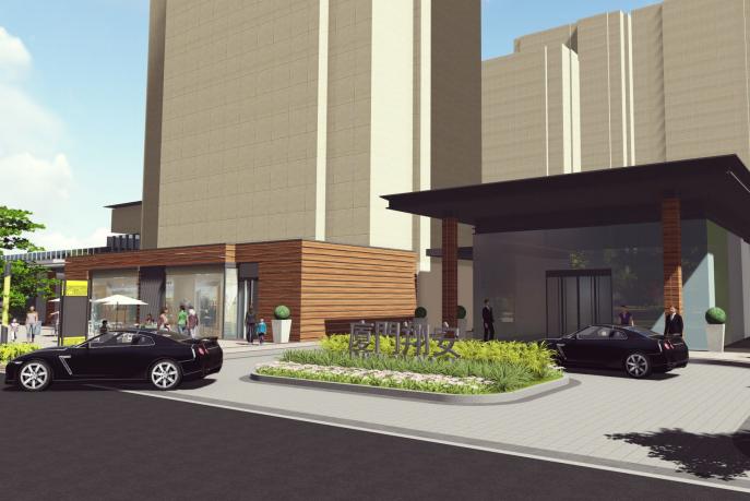 [福建]厦门现代创意自然园林住宅景观设计-入口区效果图