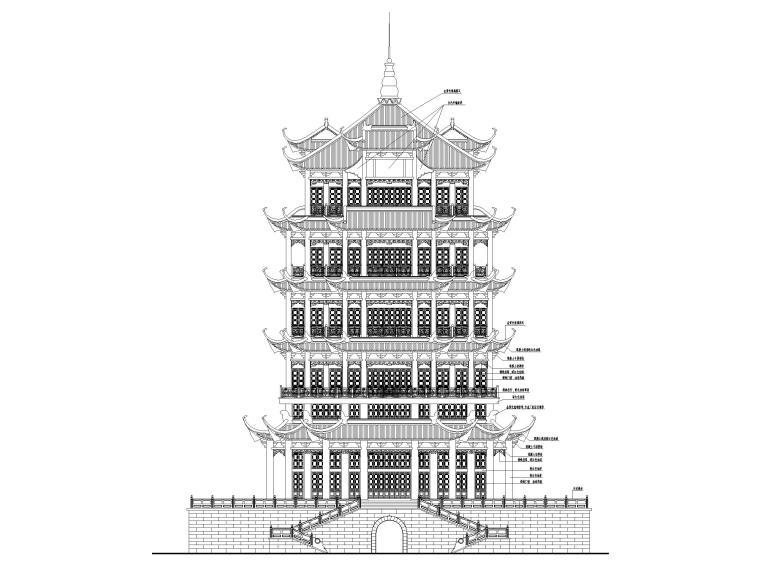 浦东川沙鹤鸣楼修缮项目建筑施工图2017-立面图1