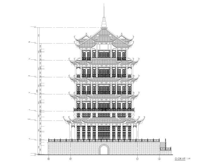 浦东川沙鹤鸣楼修缮项目建筑施工图2017-立面图2