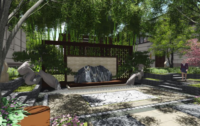 [上海]海派传统中式院子住宅景观方案文本-中轴景观2
