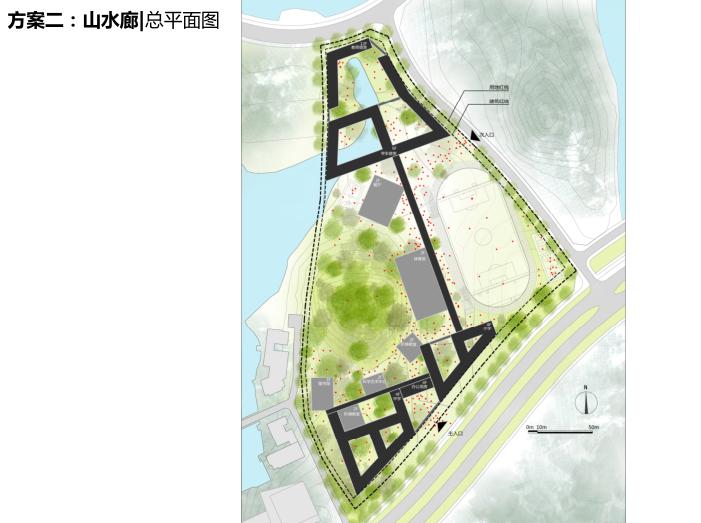 松山国际学校项目投标文本2016_大院-方案二总平面图