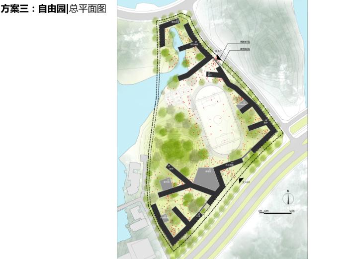 松山国际学校项目投标文本2016_大院-方案三总平面图