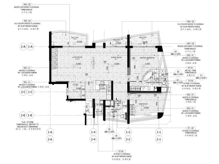 [三亚]山海天328㎡现代三居复式公寓施工图-地面铺装图