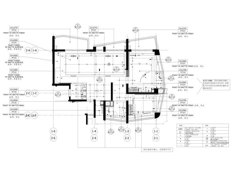 [三亚]山海天328㎡现代三居复式公寓施工图-天花布置图