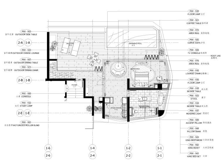 [三亚]山海天328㎡现代三居复式公寓施工图-二层家具平面布置图