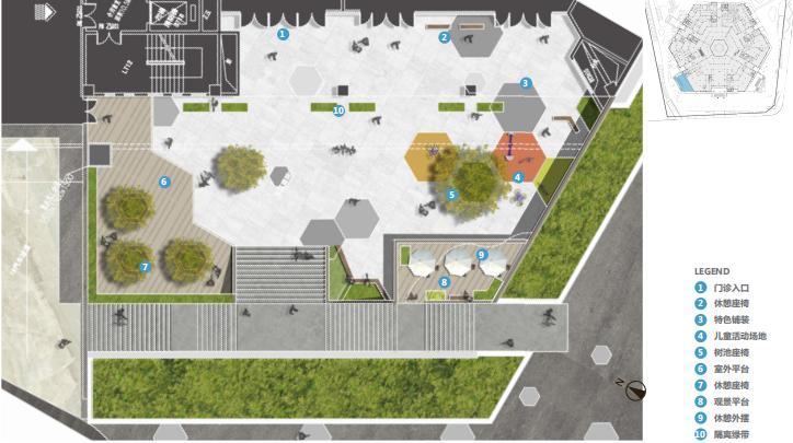 [江苏]徐州医院疗养花园景观方案深化文本-下沉广场平面图