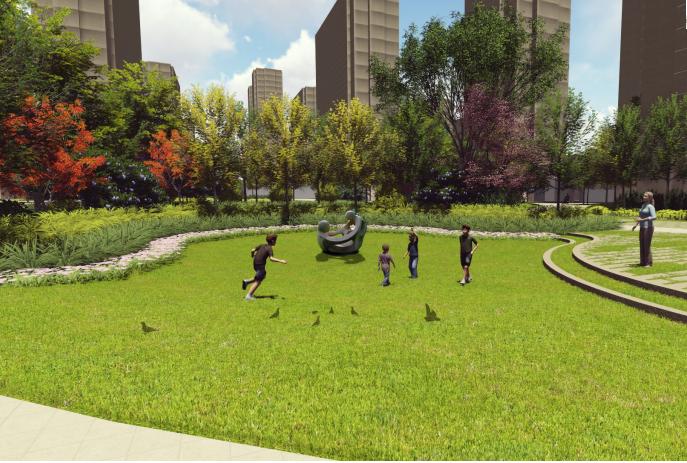 [福建]厦门现代创意自然园林住宅景观设计-阳光草坪效果图
