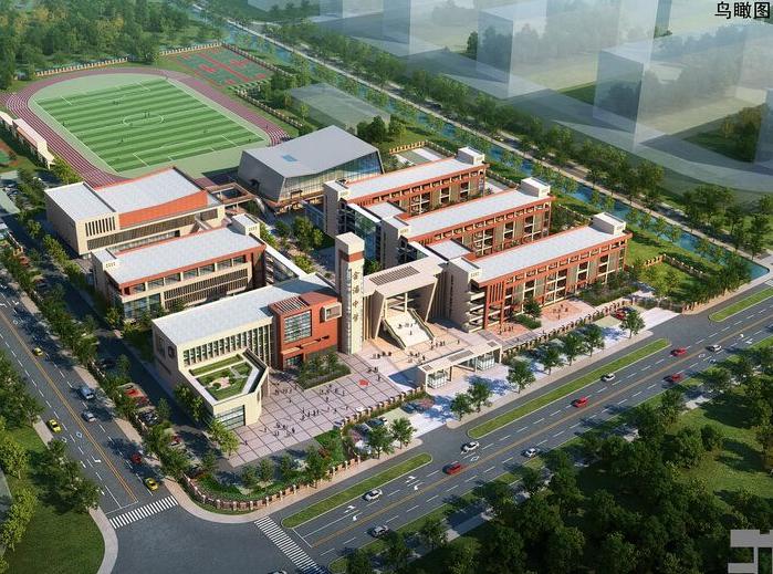 金浦中学竞标方案设计建筑SU模型-鸟瞰图