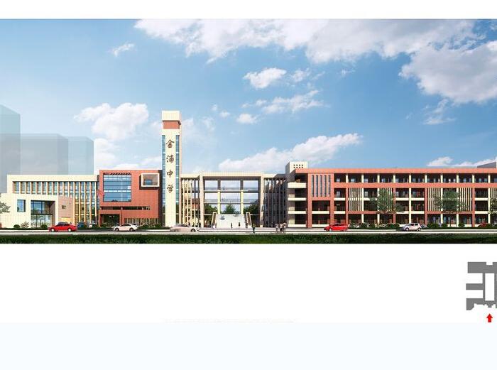 金浦中学竞标方案设计建筑SU模型-效果图1