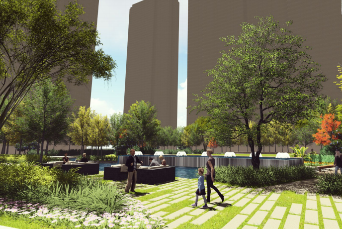 [福建]厦门现代创意自然园林住宅景观设计-中央花园效果图