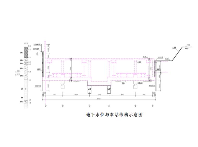 [北京]地铁降水工程专项施工方案-车站结构示意图