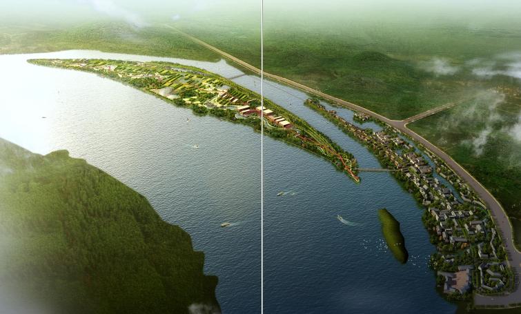 [湖南]湘潭湘江生态经济带景观绿带设计-江边效果图