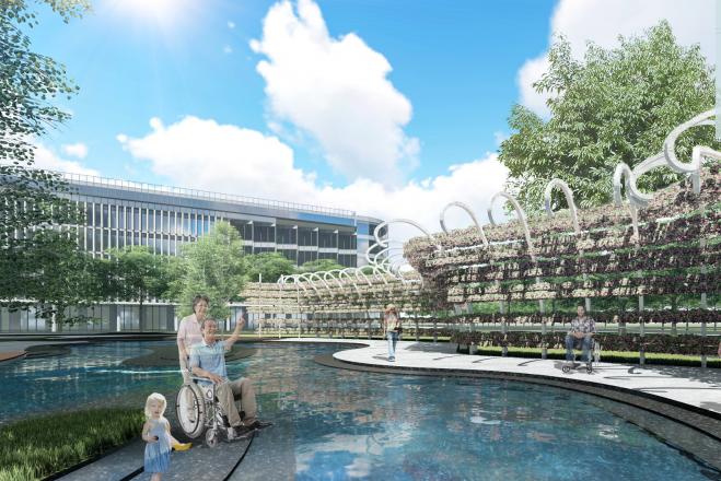 [江苏]徐州医院疗养花园景观方案深化文本-住院部水广场