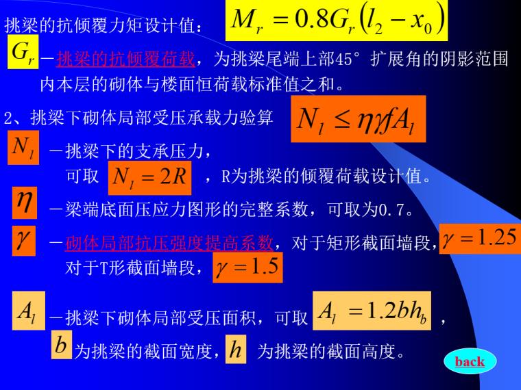 砌体结构设计PPT(108页)-挑梁的抗倾覆力矩设计值