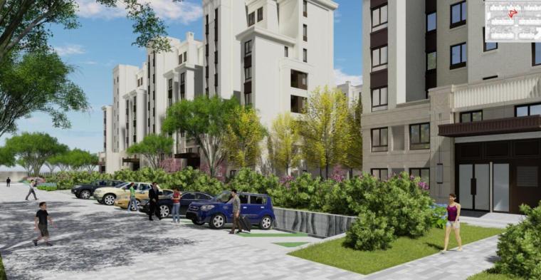 """""""纯林社区""""中式住宅景观方案深化设计-生态停车位效果图"""