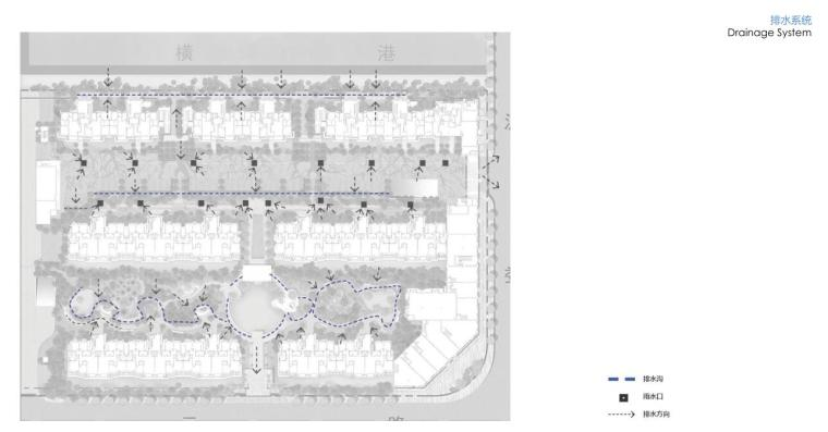 """""""纯林社区""""中式住宅景观方案深化设计-排水系统"""