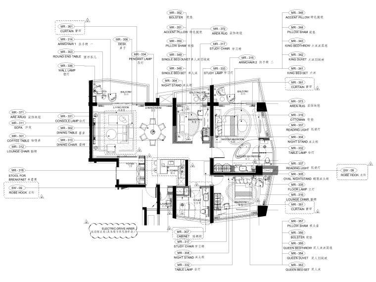 [三亚]山海天156㎡现代三居公寓设计施工图-家具平面布置图
