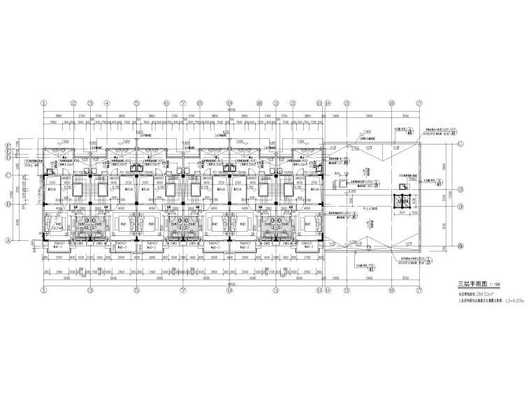 3层框剪联排别墅社区养老建筑施工图2017-三层平面图