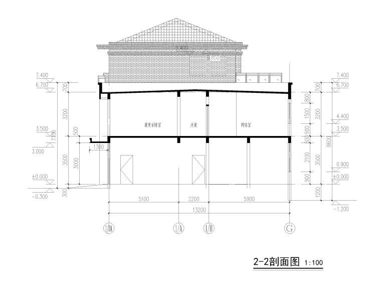 3层框剪联排别墅社区养老建筑施工图2017-剖面图