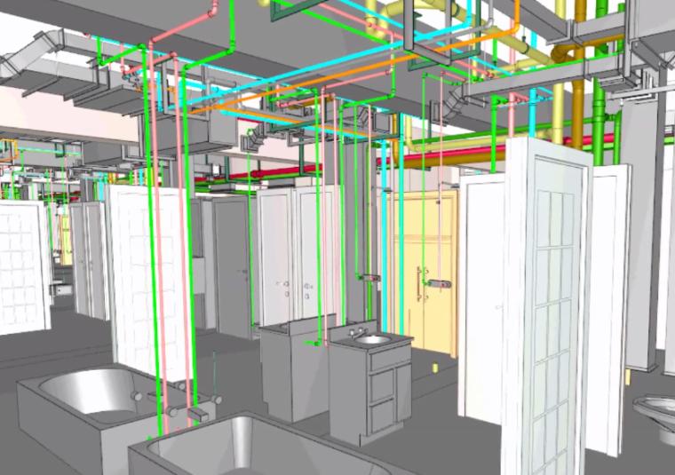 酒店标准层BIM机电安装优化(含模型图纸)-施工现场