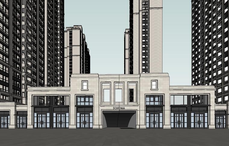 大都会风格滨江万象天地住宅建筑模型设计 (1)