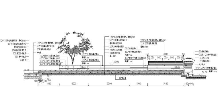特色木平台木质坐凳靠背详图设计 (1)