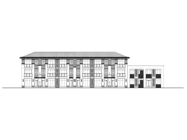 3层框剪联排别墅社区养老建筑施工图2017-立面图1