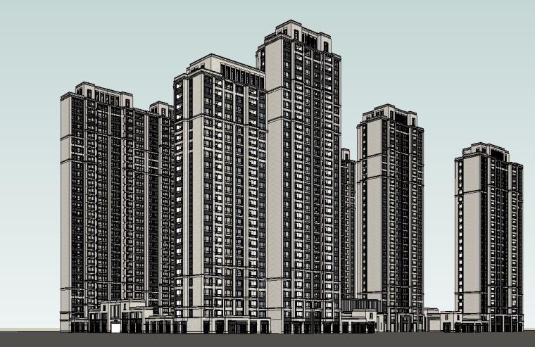 大都会风格滨江万象天地住宅建筑模型设计 (3)