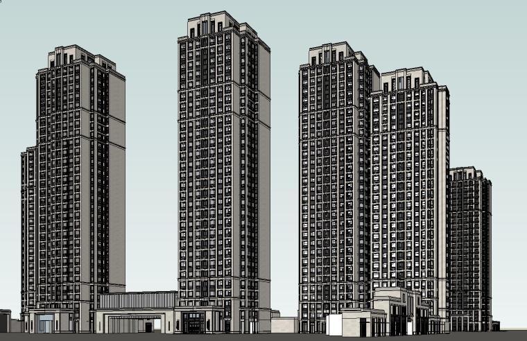 大都会风格滨江万象天地住宅建筑模型设计 (4)