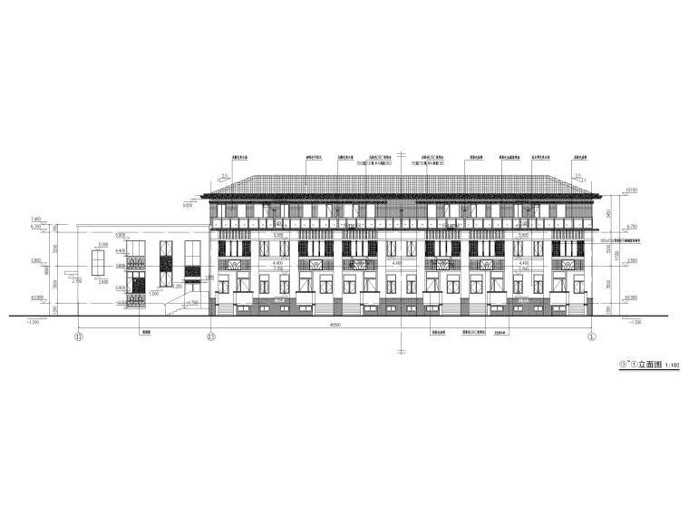3层框剪联排别墅社区养老建筑施工图2017-立面图2