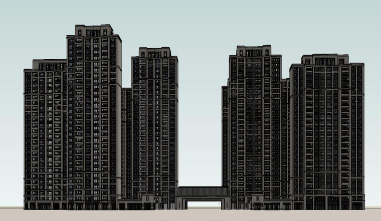 大都会风格滨江万象天地住宅建筑模型设计 (6)