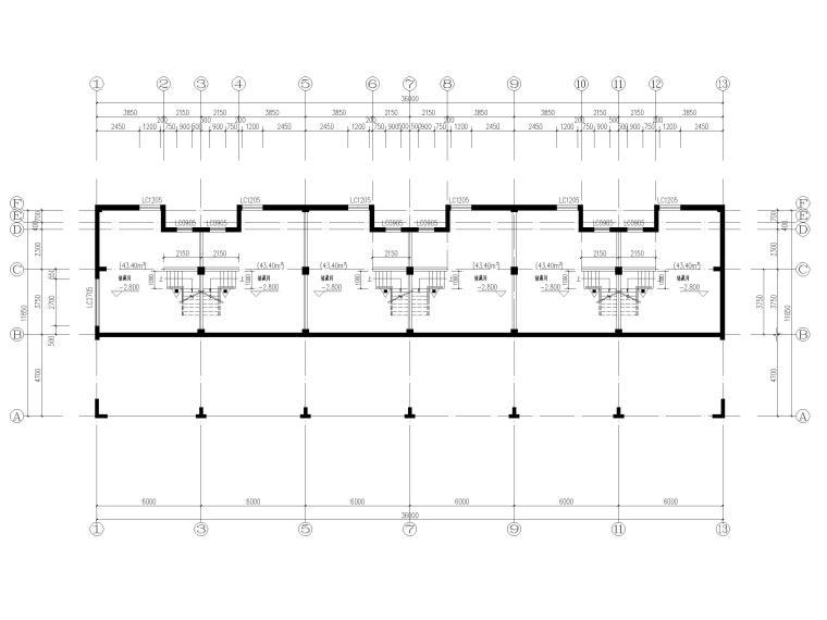 3层框剪联排别墅社区养老建筑施工图2017-地下一层平面图