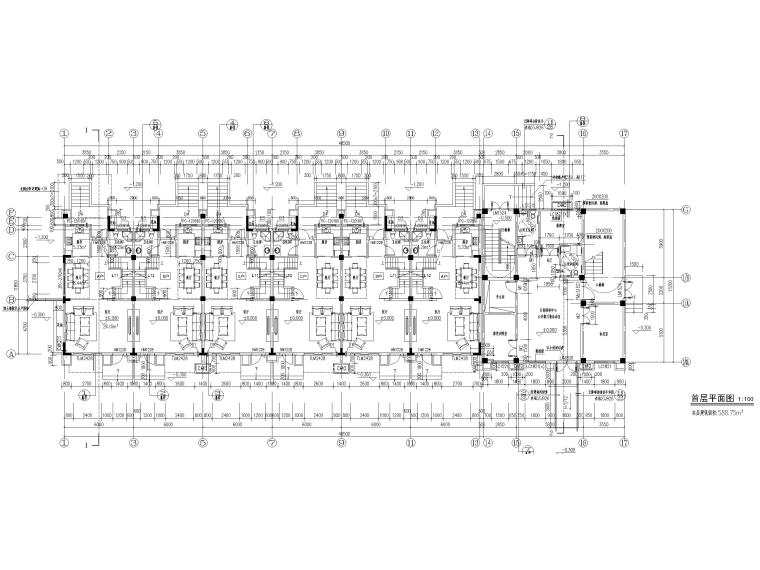 3层框剪联排别墅社区养老建筑施工图2017-首层平面图
