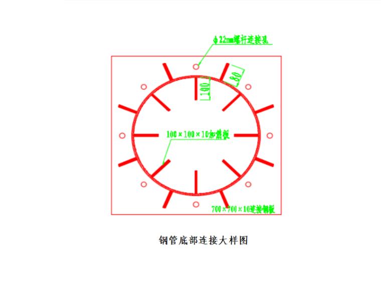 [广州]铁路大桥墩梁部施工方案2016-钢管底部连接大样图