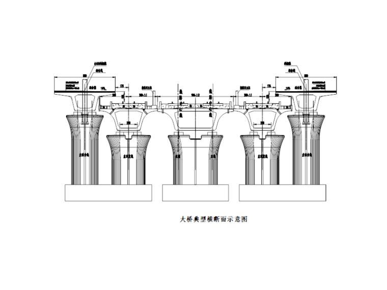 [广州]铁路大桥墩梁部施工方案2016-横断面示意图