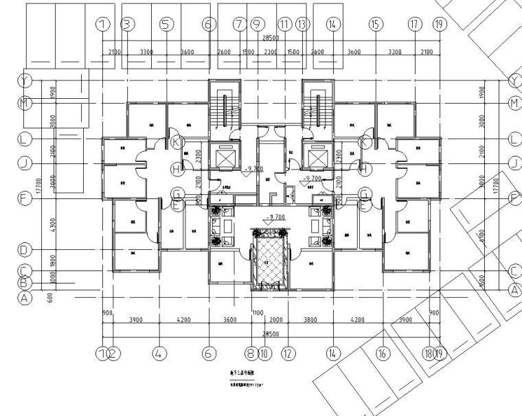 上房徐汇住宅小区1梯2户住宅户型图设计 (1)