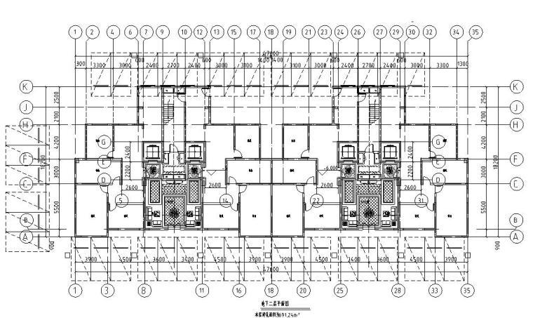 上房徐汇住宅小区1梯2户住宅户型图设计 (5)