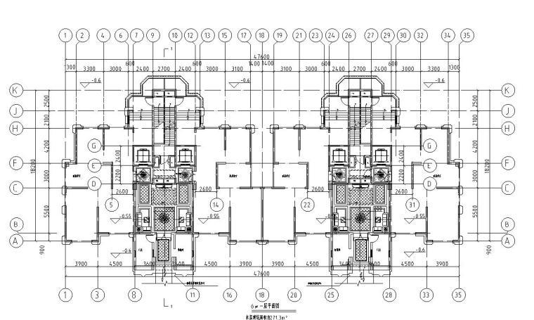 上房徐汇住宅小区1梯2户住宅户型图设计 (6)