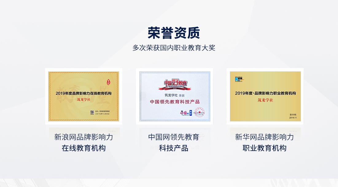 展示筑龙学社多次获得的国内职业教育大奖的荣誉资质。