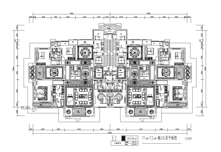 高层1梯2户住宅户型图设计 (4)