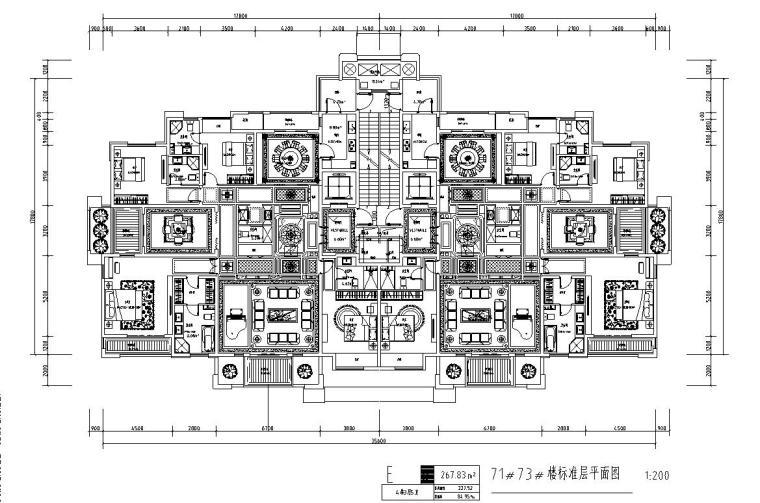 高层1梯2户住宅户型图设计 (5)