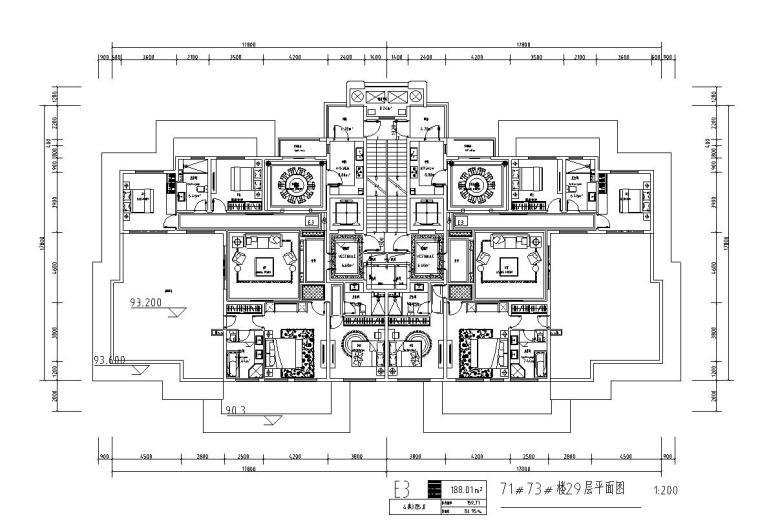 高层1梯2户住宅户型图设计 (3)
