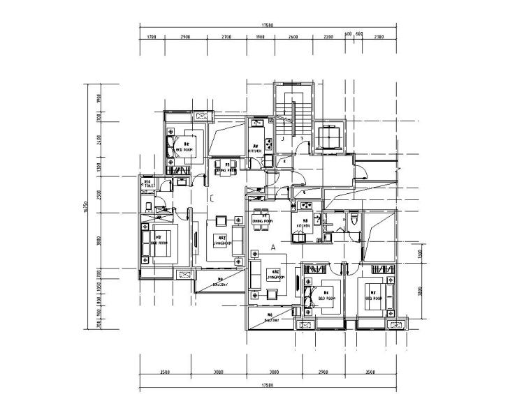 知名企业1梯2户住宅户型图设计 (1)