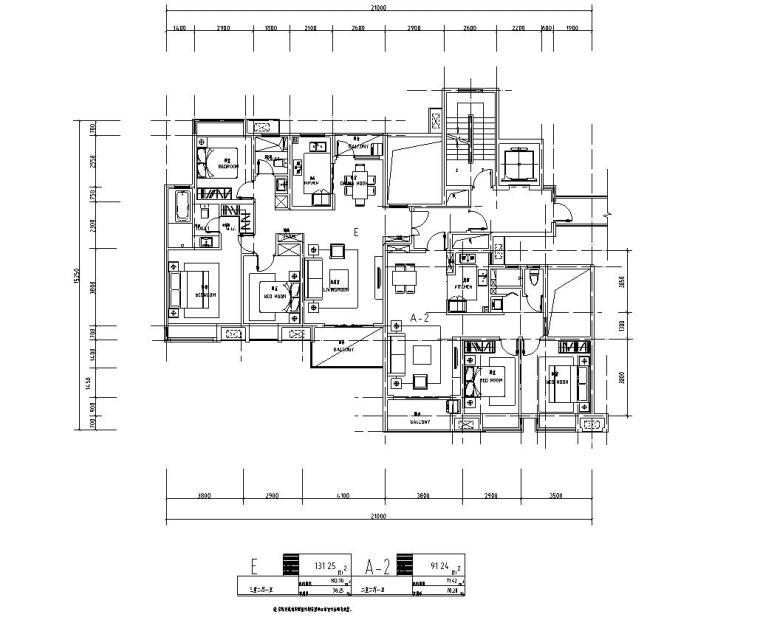 知名企业1梯2户住宅户型图设计 (3)