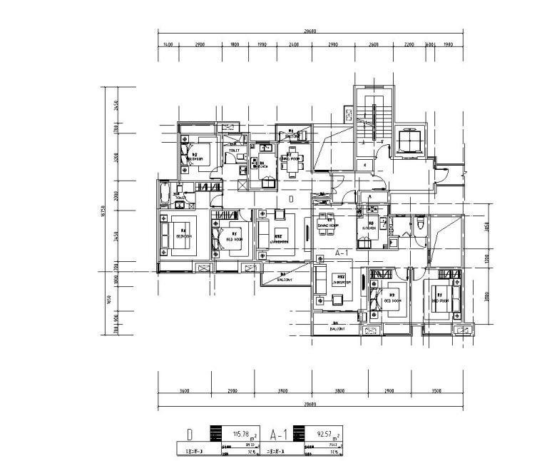 知名企业1梯2户住宅户型图设计 (2)