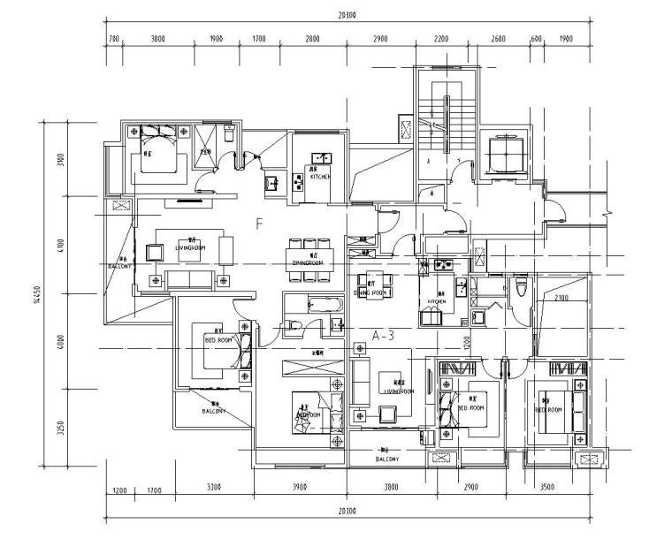 知名企业1梯2户住宅户型图设计 (5)