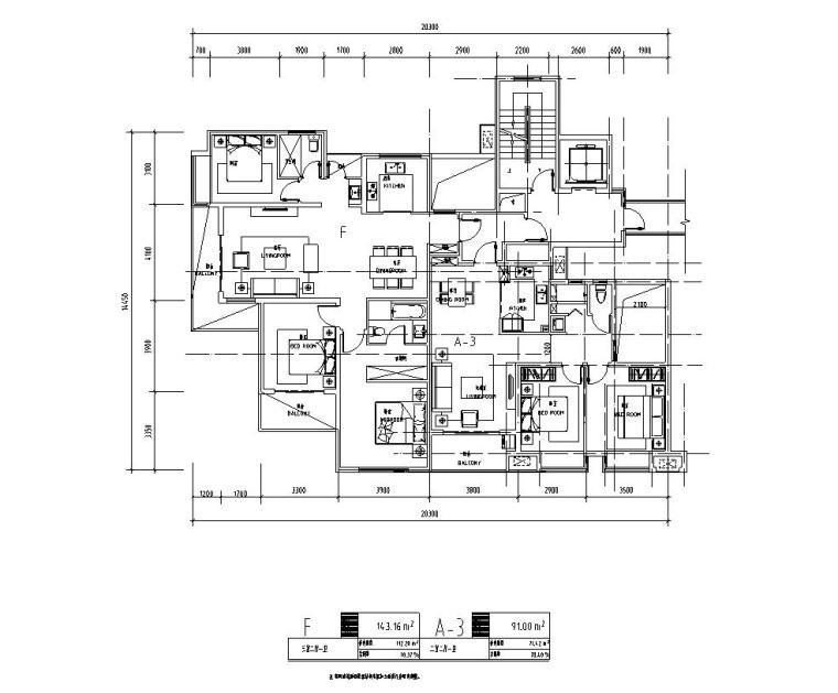 知名企业1梯2户住宅户型图设计 (4)